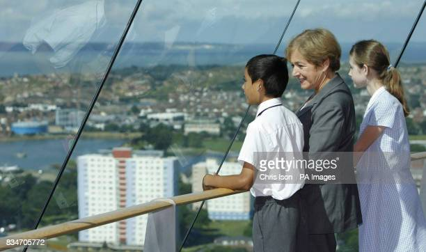 Tourism Minister Margaret Hodge takes in the view from the Spinnaker Tower in Portsmouth with 10yearold school children Safiq Favliones and Hayley...