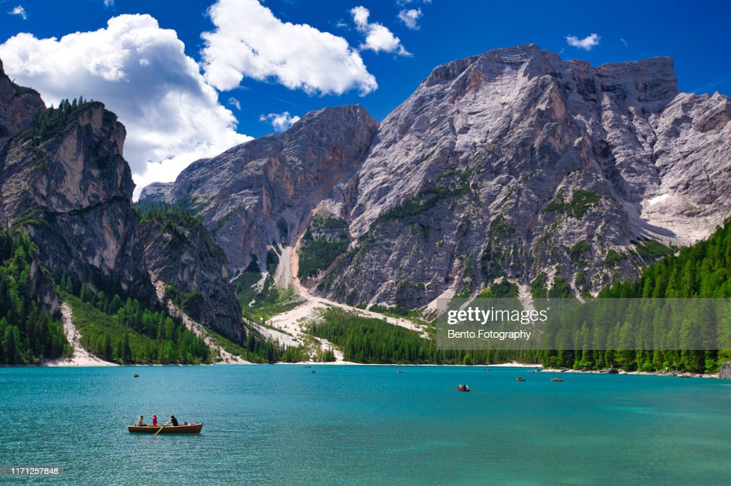Tourism sailing boat in Lake braies, Dolomite, Italy. : ストックフォト