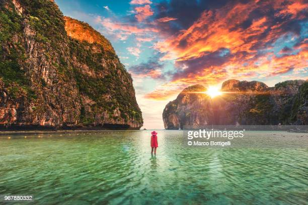 tourist admiring a scenic sunset at maya bay, phi phi island - phi phi islands stock-fotos und bilder