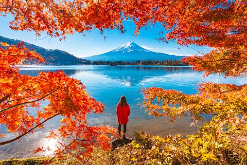 Tourist admiring Mt. Fuji in autumn, Japan - gettyimageskorea