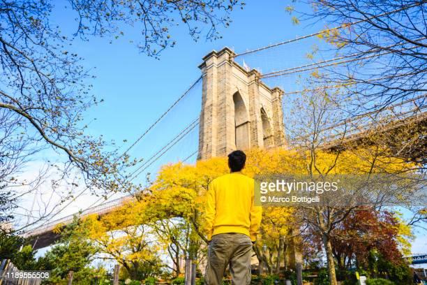 tourist admiring the brooklyn bridge in autumn, new york city - brooklyn bridge park stock-fotos und bilder