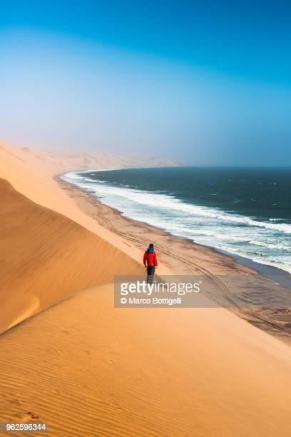 tourist admiring the ocean from the top of a sand dune - paisaje espectacular fotografías e imágenes de stock