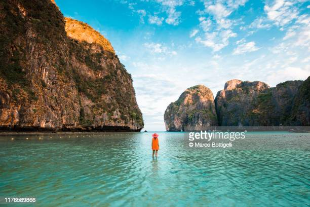 tourist admiring the view at maya bay, phi phi islands, thailand - indian ocean stock pictures, royalty-free photos & images