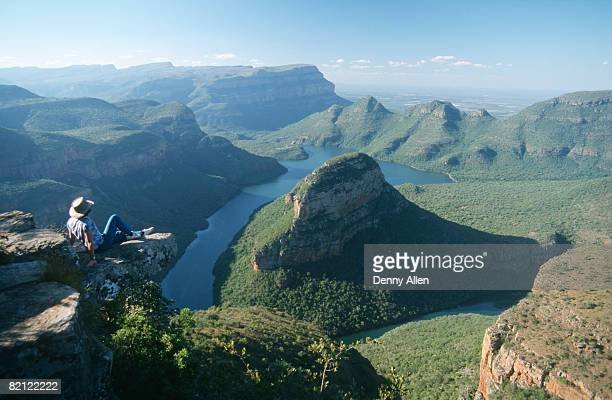 Tourist admiring the view. Blyde River Canyon, Mpumalanga Province, South Africa.