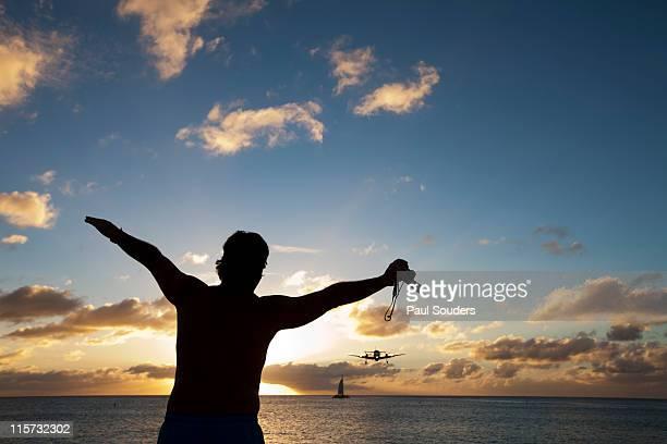 Tourist and Landing Jet, Saint Martin