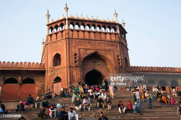 Tourist and local people visiting Jama Masjid mosque, Old Delhi, India.