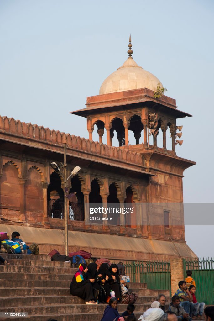 Tourist and local people visiting Jama Masjid mosque, Old Delhi, India. : Stock Photo