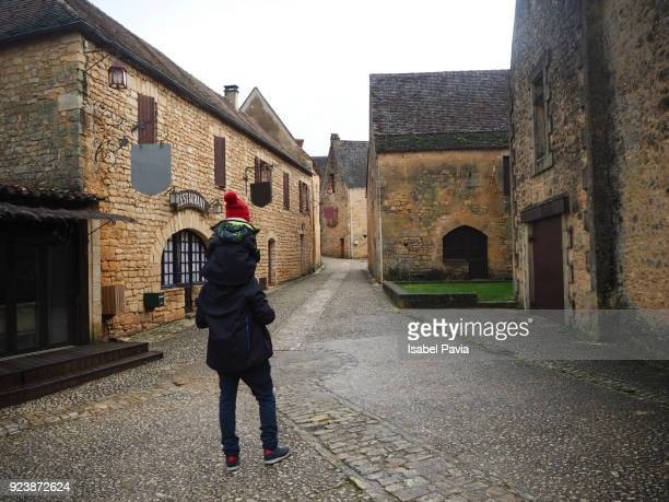 Tourist and son in France