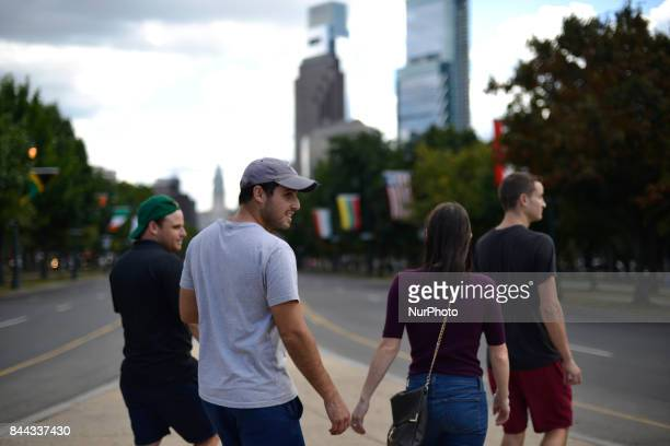 Tourist are sightseeing on the Benjamin Franklin Parkway in Philadelphia as Parkway100 kick off on September 8 2017 in Philadelphia PA The scenic...