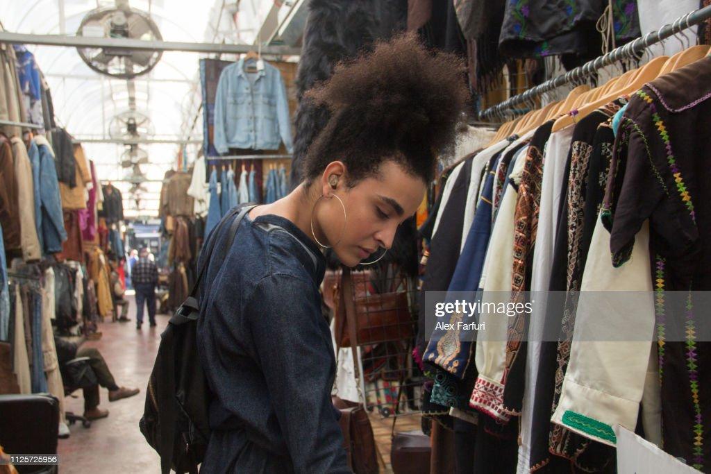 Tourist at a flea market