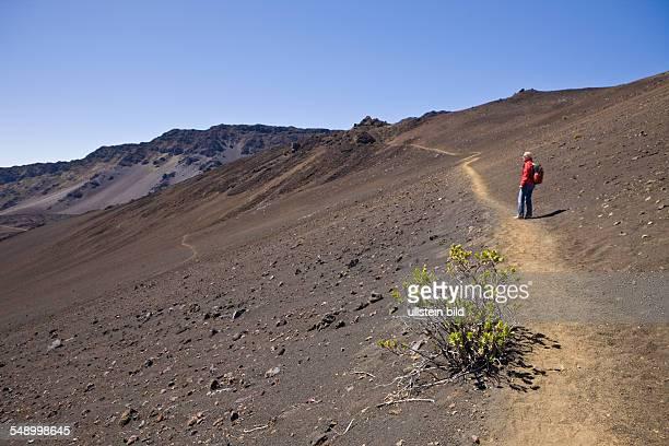 Tourist at Crater of Haleakala Volcano Maui Hawaii USA