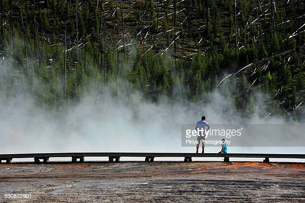 Tourist at Grand Prismatic Spring