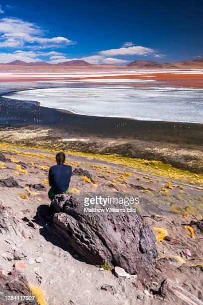 Tourist at Laguna Colorada, Red Lagoon, a salt lake in the Altiplano of Bolivia in Eduardo Avaroa Andean Fauna National Reserve, South America.