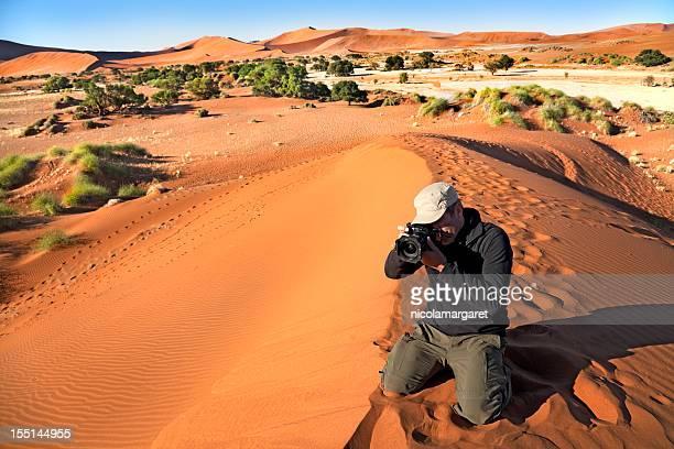 Tourist at Sossusvlei, Namibia