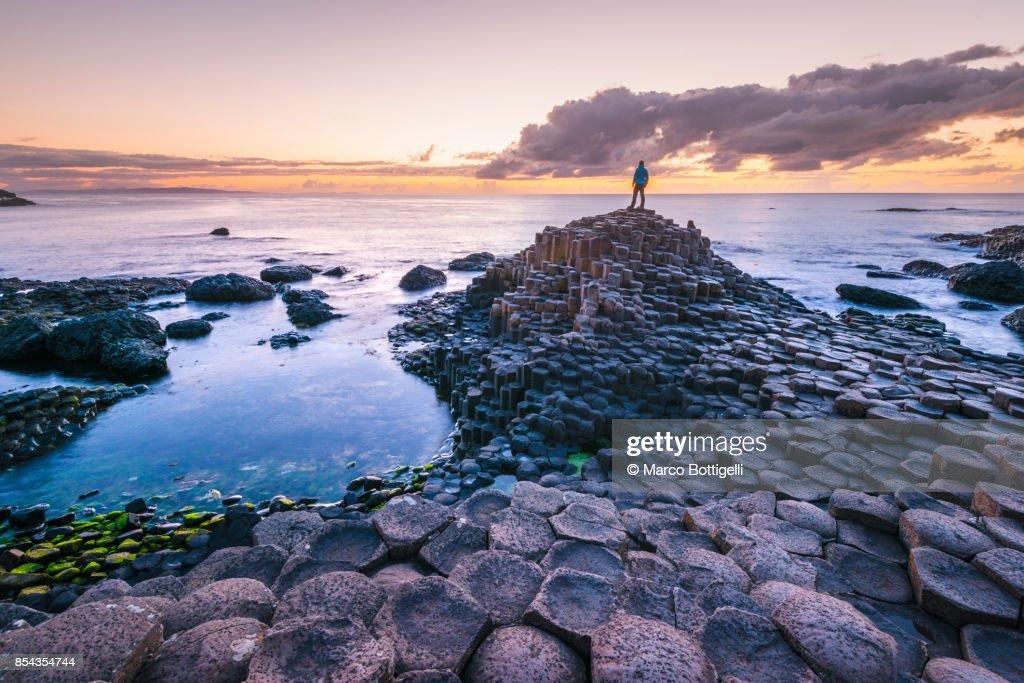 Tourist at the Giant's Causeway, Northern Ireland. : Stock Photo
