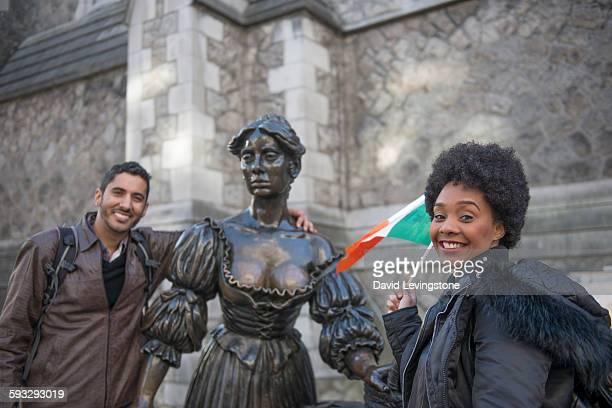 Tourist at the Molly Malone Statue, Dublin