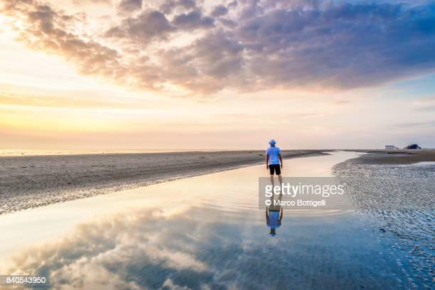 tourist at the wadden sea at sunset. st. peter-ording, germany. - schleswig holstein stock-fotos und bilder