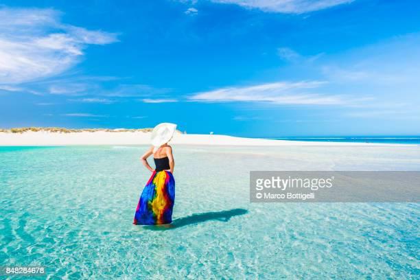 Tourist at Turquoise Bay. Exmouth, Western Australia.