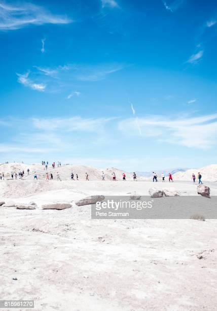 Tourist at Zabriskie Point, Death Valley National Park, California.