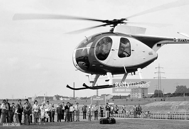 Tourist attraction, helicopter flight, Muehlenweide, D-Duisburg, Rhine, Ruhr area, North Rhine-Westphalia -