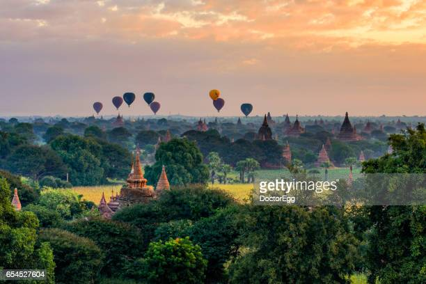 Tourist Balloons fly over the Pagoda, Mandalay, Myanmar