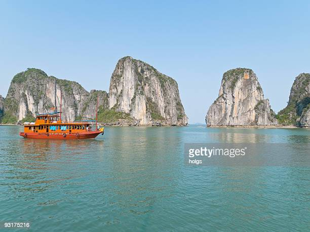 Tourist boat in Halong Bay
