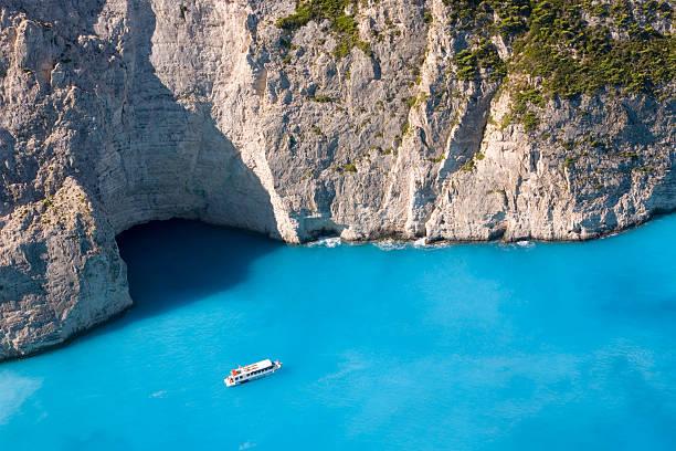 Tourist boat in Navagio Bay, Zakynthos, Greece
