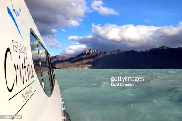 A tourist boat returns from a dayvisit to the Upsala glacier part of the Southern Patagonian Ice Field and the Estancia Cristina homestead on April 4...