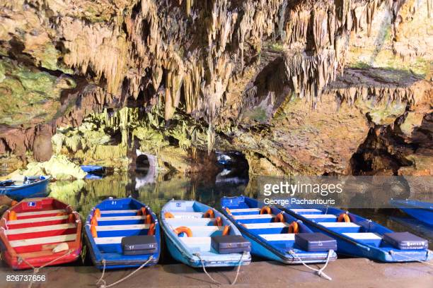 Tourist boats in the caves of Diros, Greece