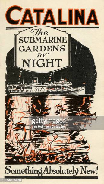 Tourist brochure for the Submarine Gardens on Catalina Island, California shows an illustration of a ship coming into port with various fish swimming...