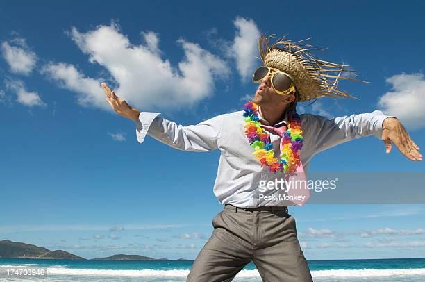 Tourist Businessman Does a Beach Dance