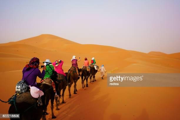 Toeristische kameel safari in de Saharawoestijn