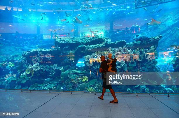 A tourist carrying his son passes the huge aquarium in the Dubai mall in Dubai UAE The Dubai mall is considered the biggest in the world Dubai...