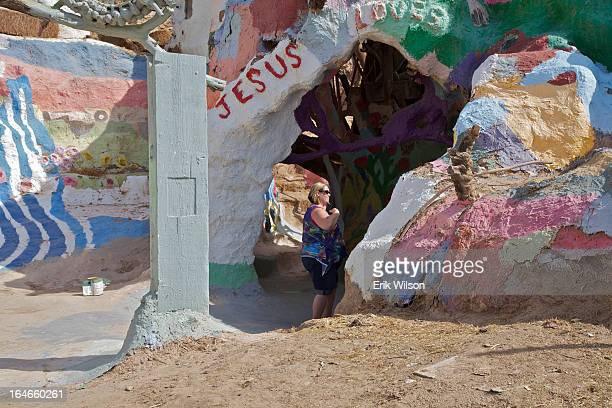 CONTENT] A tourist checks out the installation known as Salvation Mountain created by artist Leonard Knight Slab City near Niland just south of the...