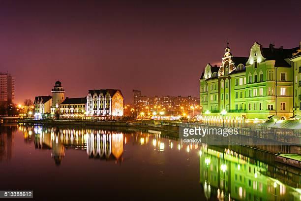 tourist complex fishing village at night, kaliningrad - kaliningrad stock pictures, royalty-free photos & images