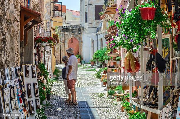 Tourist duo in Old Town of Rhodes, Greece
