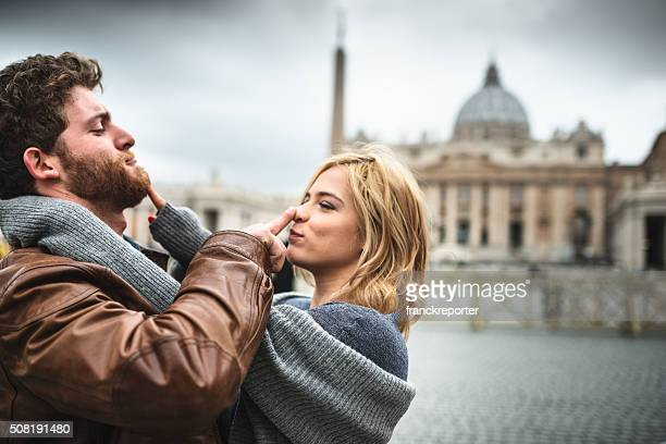 Tourist embracing in Rome