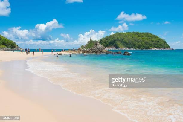Thailand - May 6, 2016: Tourist enjoy swimming at Ya Nui Beach in Summer, Phuket