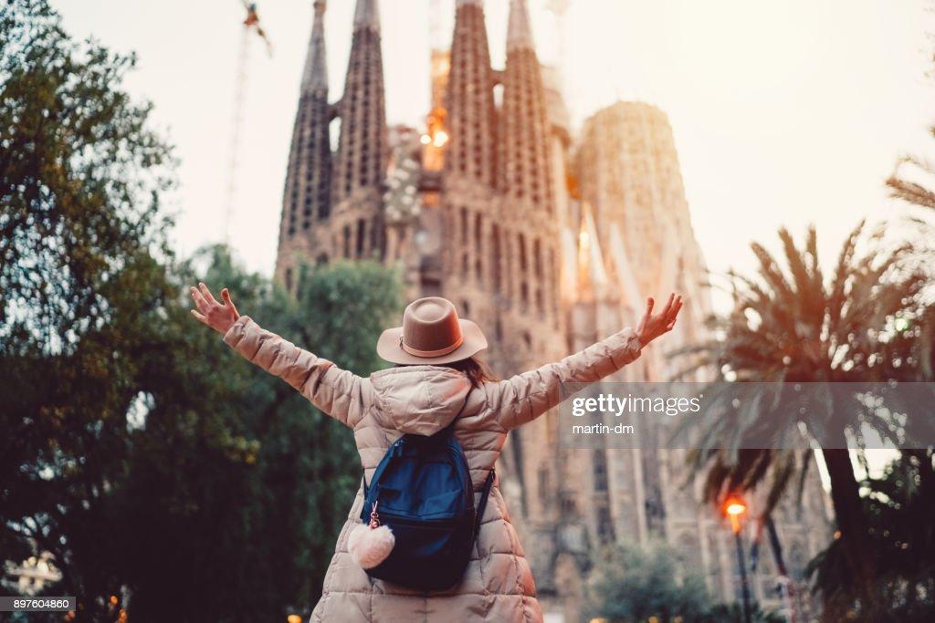Tourist enjoying Barcelona : Stock Photo