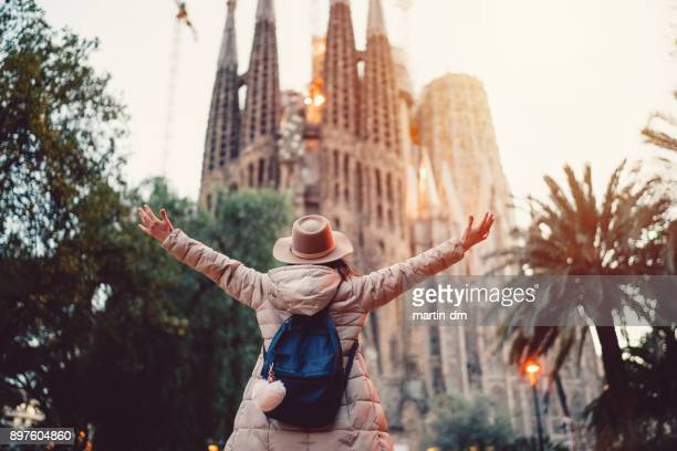 tourist enjoying barcelona - tourism stock pictures, royalty-free photos & images
