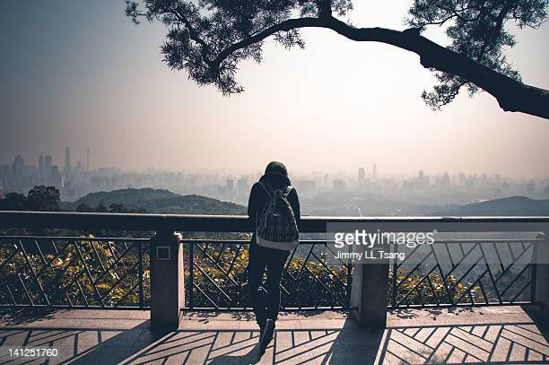 Tourist enjoying Guangzhou city view