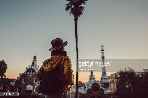 Tourist enjoying park Guell