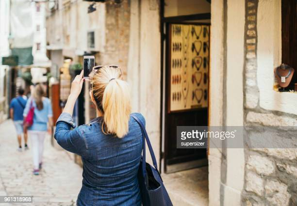 Tourist exploring sites