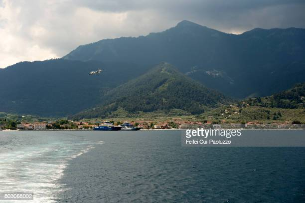 Tourist ferry at harbor of Limenaria, in Thasos island, East Macedonia and Thrace region, Northern Greece.
