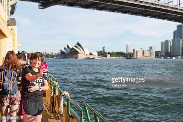 Tourist girl making a selfie in Sydney