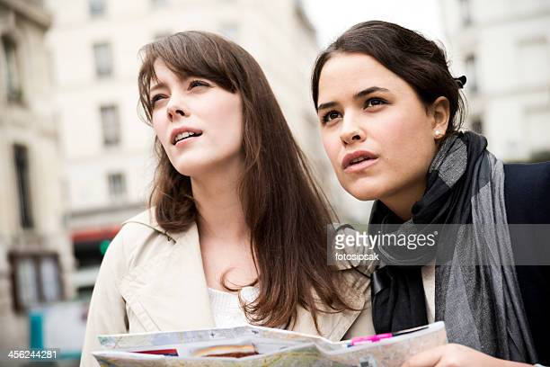 tourist girls on paris streets