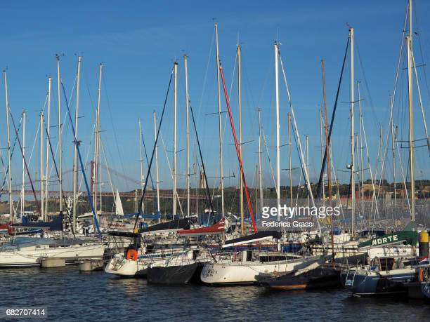tourist harbor doca do bom sucesso in belem district, lisbon, portugal - sucesso stock pictures, royalty-free photos & images