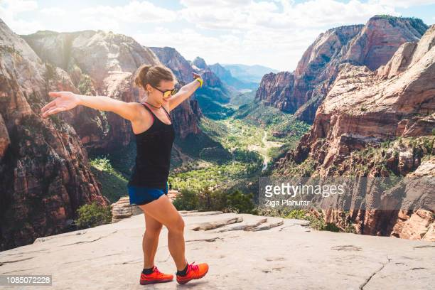 tourist having fun - zion national park stock pictures, royalty-free photos & images