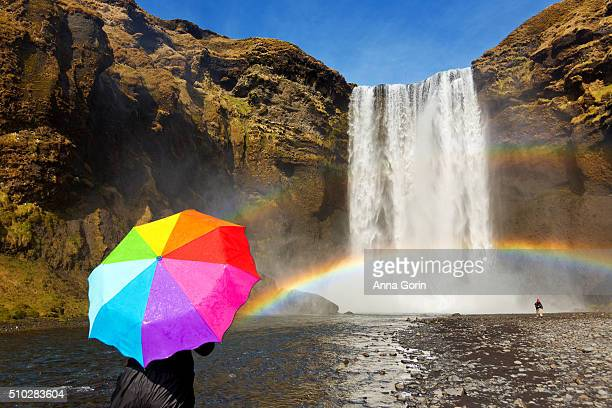 Tourist hidden behind rainbow umbrella looking toward rainbow at base of Skogafoss waterfall, Iceland