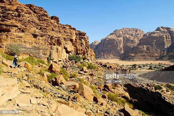 Tourist hiking in Wadi Rum, Jordan